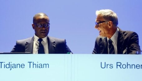 CEO Thiam and Chairman Rohner of Swiss bank Credit Suisse attend annual shareholder meeting in Zurich