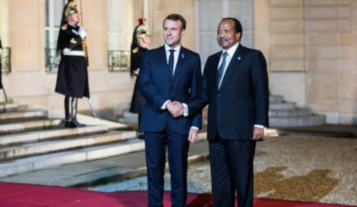 French President Emmanuel Macron and his Cameroonian counterpart Paul Biya