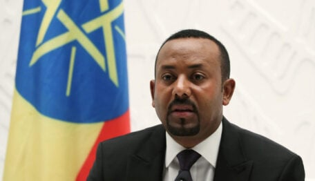 Ethiopia's Prime Minister Abiy Ahmed speaks at a news conference at his office in Addis Ababa