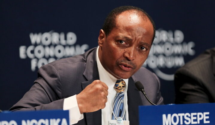 Patrice Motsepe, Founder and Executive Chairman of African Rainbow Minerals speaks at a press conference at the World Economic Forum on Africa in Cape Town